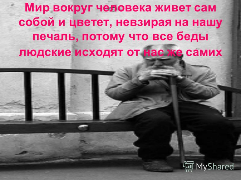 Мир вокруг человека живет сам собой и цветет, невзирая на нашу печаль, потому что все беды людские исходят от нас же самих
