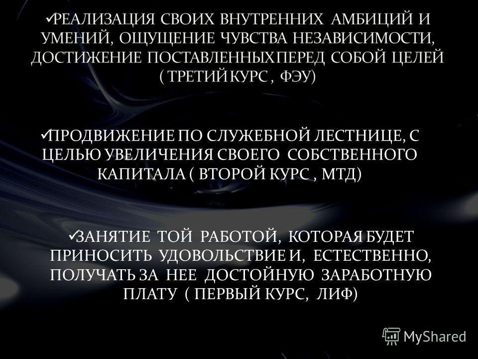 ПРОДВИЖЕНИЕ ПО СЛУЖЕБНОЙ ЛЕСТНИЦЕ, С ЦЕЛЬЮ УВЕЛИЧЕНИЯ СВОЕГО СОБСТВЕННОГО КАПИТАЛА ( ВТОРОЙ КУРС, МТД) ЗАНЯТИЕ ТОЙ РАБОТОЙ, КОТОРАЯ БУДЕТ ПРИНОСИТЬ УДОВОЛЬСТВИЕ И, ЕСТЕСТВЕННО, ПОЛУЧАТЬ ЗА НЕЕ ДОСТОЙНУЮ ЗАРАБОТНУЮ ПЛАТУ ( ПЕРВЫЙ КУРС, ЛИФ)