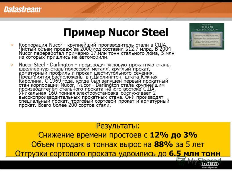 Пример Nucor Steel >Корпорация Nucor - крупнейший производитель стали в США. Чистый объем продаж за 2000 год составил $12.7 млрд. В 2004 Nucor переработал примерно 17 млн тонн стального лома, 5 млн из которых пришлись на автомобили. >Nucor Steel - Da