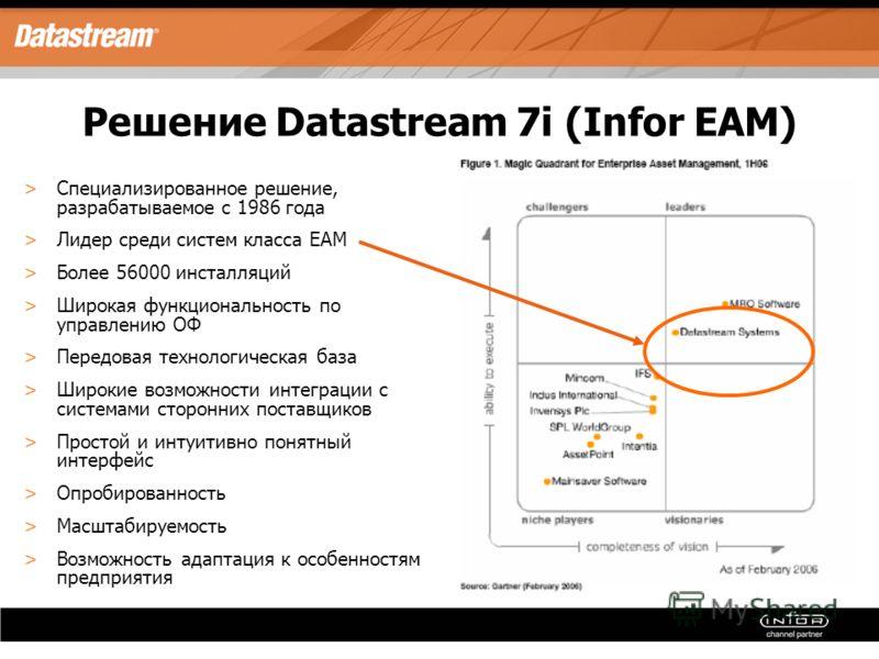 Решение Datastream 7i (Infor EAM) >Специализированное решение, разрабатываемое с 1986 года >Лидер среди систем класса EAM >Более 56000 инсталляций >Широкая функциональность по управлению ОФ >Передовая технологическая база >Широкие возможности интегра