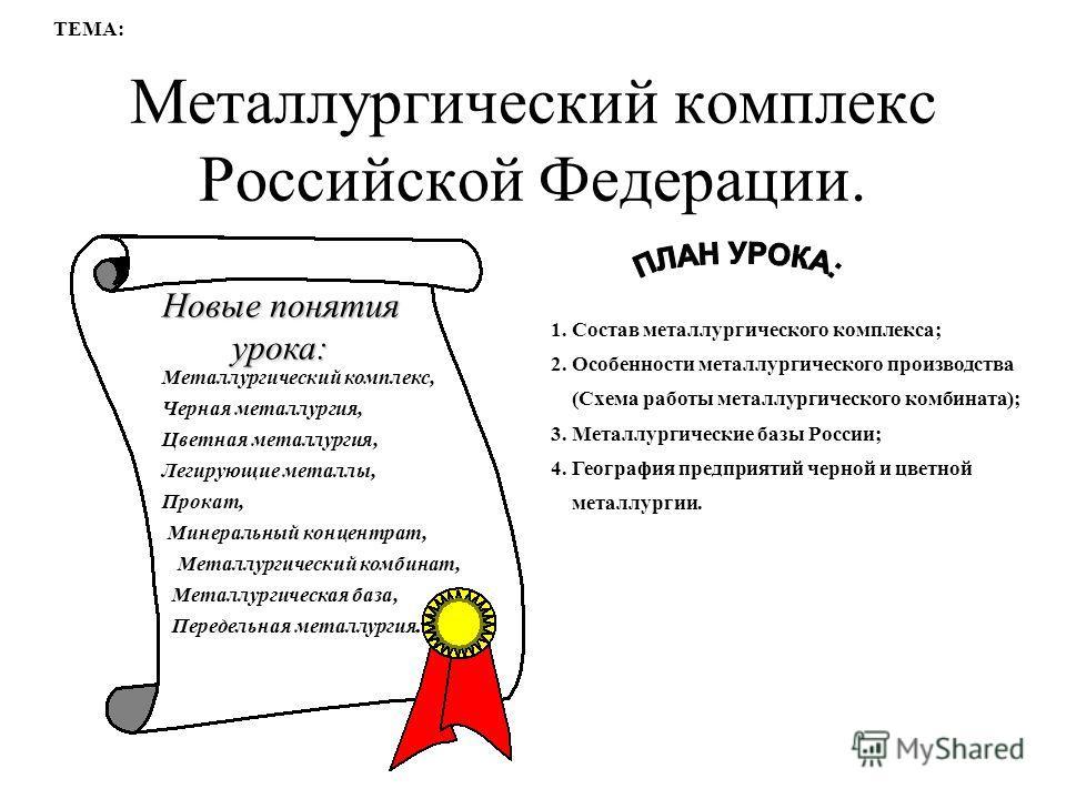 Тестовая работа металлургический комплекс россии 9 класс
