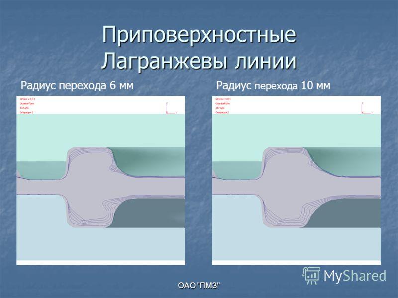 ОАО ПМЗ Приповерхностные Лагранжевы линии Радиус перехода 6 ммРадиус перехода 10 мм
