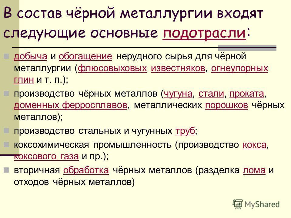 Презентация на тему Чёрная металлургия Работу выполнили ученицы  9 В