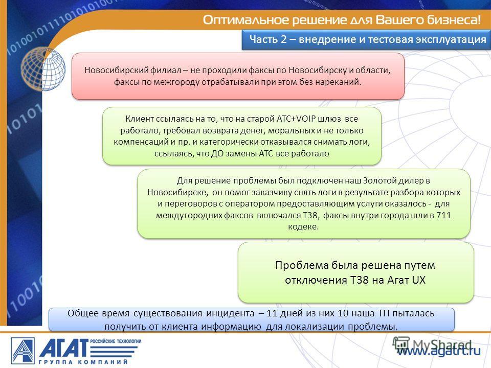 Новосибирский филиал – не проходили факсы по Новосибирску и области, факсы по межгороду отрабатывали при этом без нареканий. Клиент ссылаясь на то, что на старой АТС+VOIP шлюз все работало, требовал возврата денег, моральных и не только компенсаций и