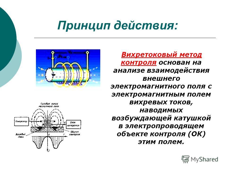 Принцип действия: Вихретоковый метод контроля основан на анализе взаимодействия внешнего электромагнитного поля с электромагнитным полем вихревых токов, наводимых возбуждающей катушкой в электропроводящем объекте контроля (ОК) этим полем.