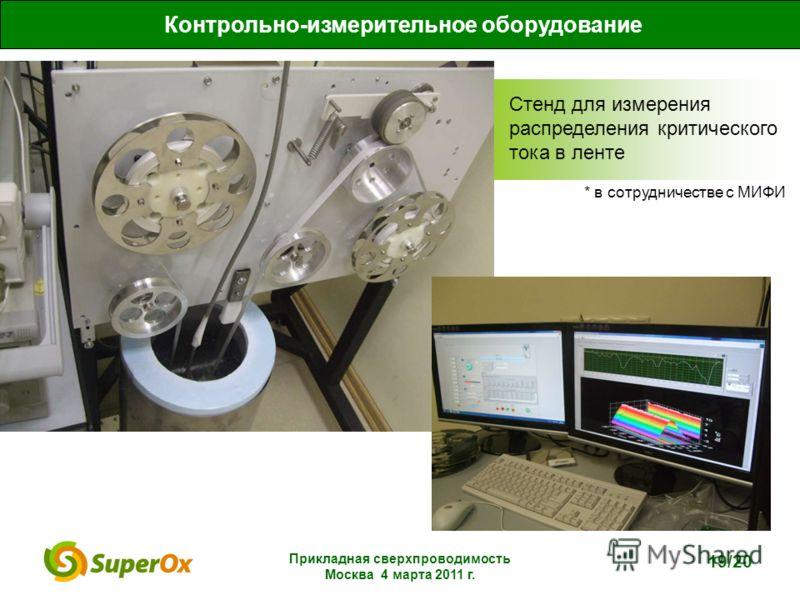 Прикладная сверхпроводимость Москва 4 марта 2011 г. 19/20 Контрольно-измерительное оборудование Стенд для измерения распределения критического тока в ленте * в сотрудничестве с МИФИ