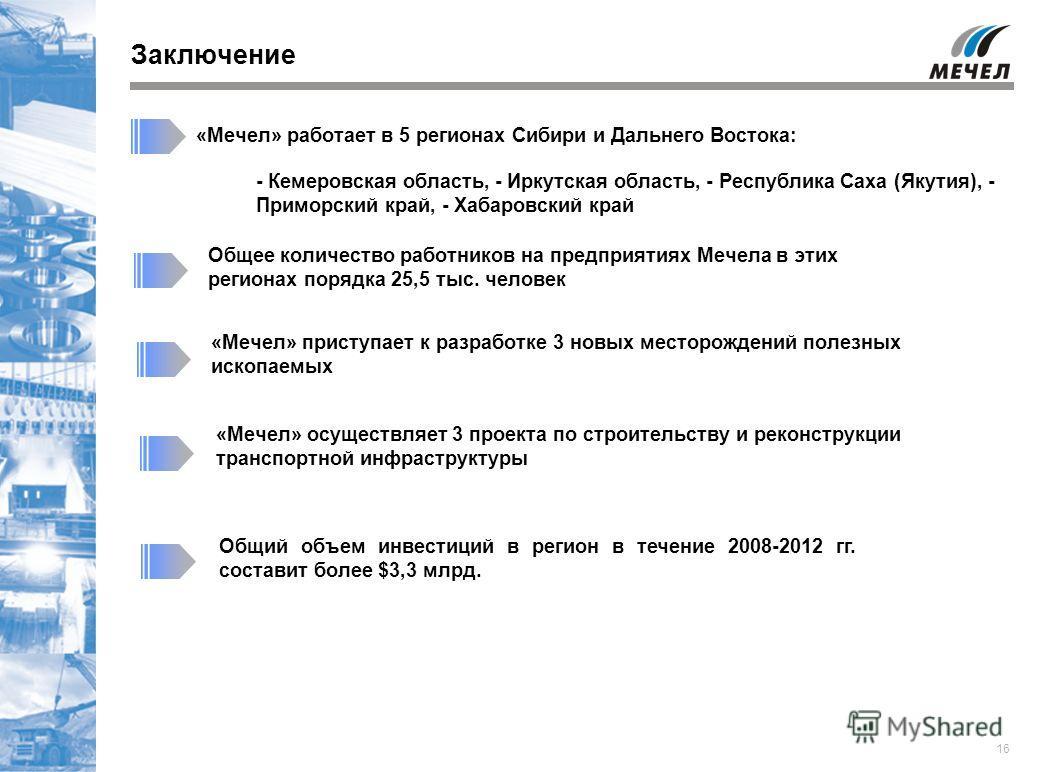 16 Заключение «Мечел» работает в 5 регионах Сибири и Дальнего Востока: «Мечел» приступает к разработке 3 новых месторождений полезных ископаемых «Мечел» осуществляет 3 проекта по строительству и реконструкции транспортной инфраструктуры Общий объем и