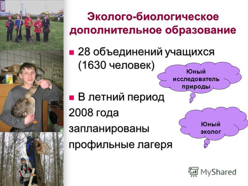 Эколого-биологическое дополнительное образование 28 объединений учащихся (1630 человек) 28 объединений учащихся (1630 человек) В летний период В летний период 2008 года запланированы профильные лагеря Юный исследователь природы Юный эколог