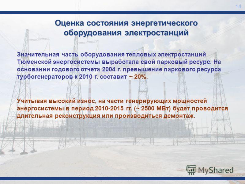 Оценка состояния энергетического оборудования электростанций Значительная часть оборудования тепловых электростанций Тюменской энергосистемы выработала свой парковый ресурс. На основании годового отчета 2004 г. превышение паркового ресурса турбогенер