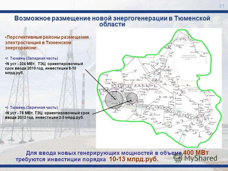 Возможное размещение новой энергогенерации в Тюменской области Перспективные районы размещения электростанций в Тюменском энергорайоне: г. Тюмень (Западная часть) N уст - 324 МВт, ТЭЦ ориентировочный срок ввода 2010 год, инвестиции 8-10 млрд.руб. г.