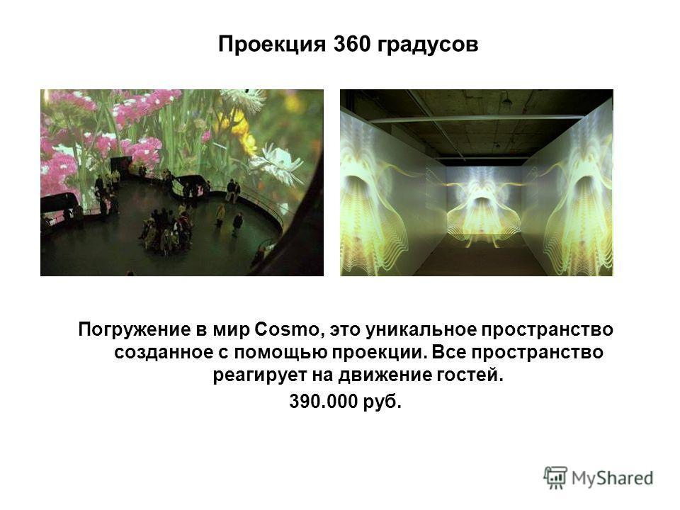 Проекция 360 градусов Погружение в мир Cosmo, это уникальное пространство созданное с помощью проекции. Все пространство реагирует на движение гостей. 390.000 руб.