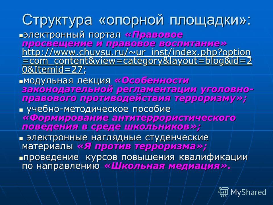 Структура «опорной площадки»: электронный портал «Правовое просвещение и правовое воспитание» http://www.chuvsu.ru/~ur_inst/index.php?option =com_content&view=category&layout=blog&id=2 0&Itemid=27; электронный портал «Правовое просвещение и правовое