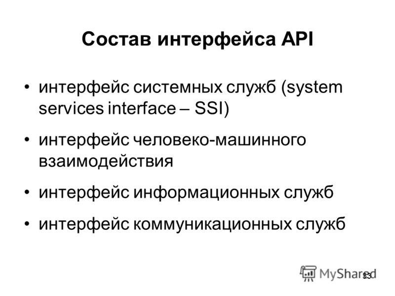 33 Состав интерфейса API интерфейс системных служб (system services interface – SSI) интерфейс человеко-машинного взаимодействия интерфейс информационных служб интерфейс коммуникационных служб