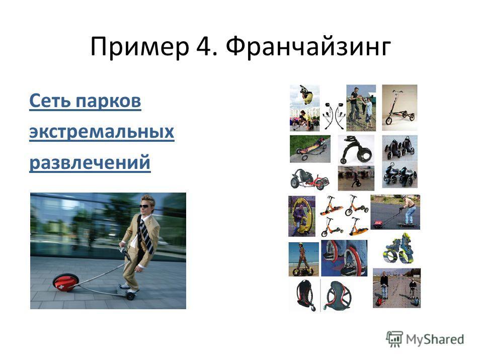 Пример 4. Франчайзинг Сеть парков экстремальных развлечений