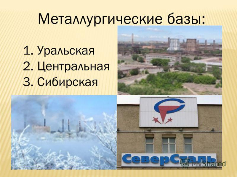 Металлургические базы: 1. Уральская 2. Центральная 3. Сибирская
