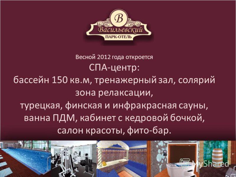 Весной 2012 года откроется СПА-центр: бассейн 150 кв.м, тренажерный зал, солярий зона релаксации, турецкая, финская и инфракрасная сауны, ванна ПДМ, кабинет с кедровой бочкой, салон красоты, фито-бар.