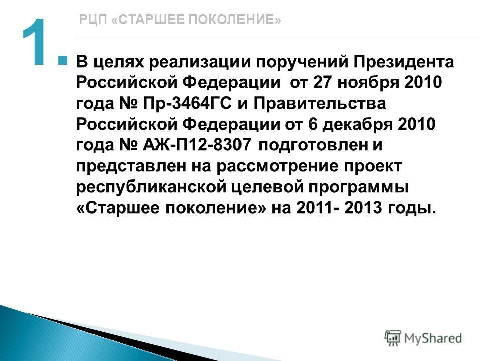 В целях реализации поручений Президента Российской Федерации от 27 ноября 2010 года Пр-3464ГС и Правительства Российской Федерации от 6 декабря 2010 года АЖ-П12-8307 подготовлен и представлен на рассмотрение проект республиканской целевой программы «