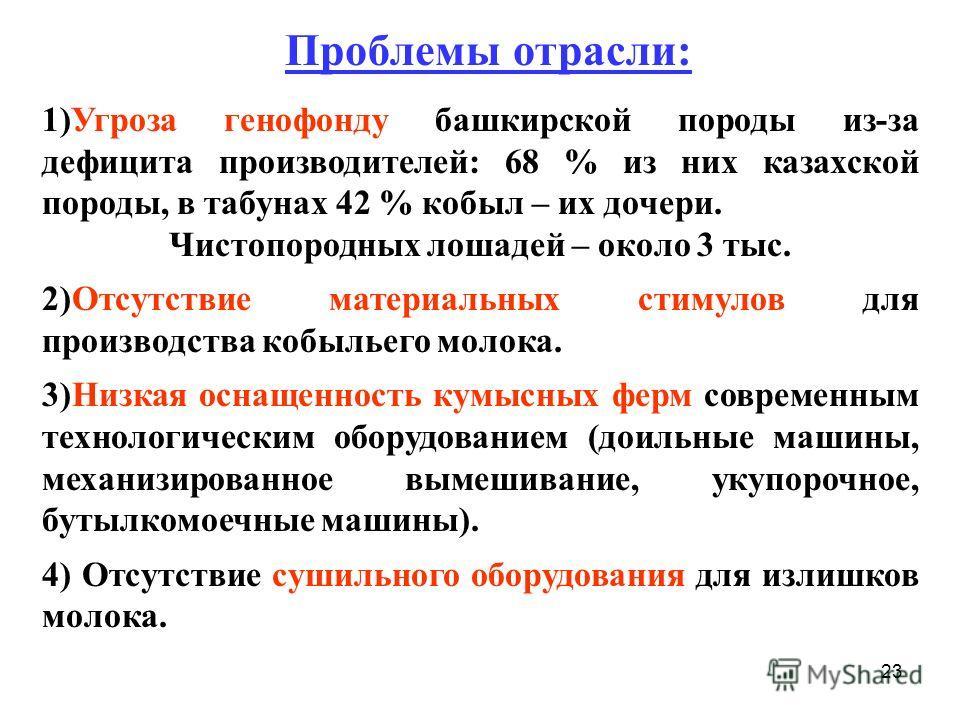 23 1)Угроза генофонду башкирской породы из-за дефицита производителей: 68 % из них казахской породы, в табунах 42 % кобыл – их дочери. Чистопородных лошадей – около 3 тыс. 2)Отсутствие материальных стимулов для производства кобыльего молока. 3)Низкая
