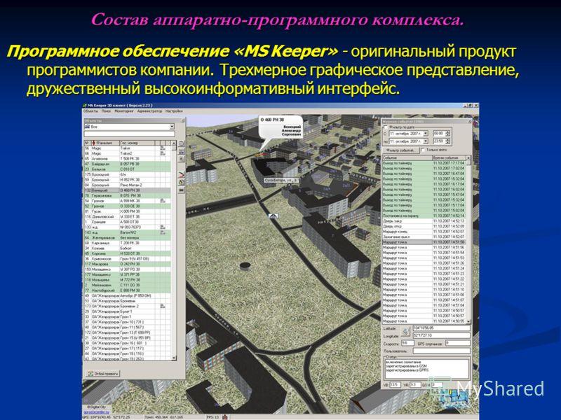 Состав аппаратно-программного комплекса. Программное обеспечение «MS Keeper» - оригинальный продукт программистов компании. Трехмерное графическое представление, дружественный высокоинформативный интерфейс.