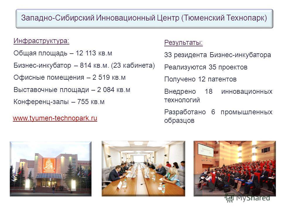 Инфраструктура: Общая площадь – 12 113 кв.м Бизнес-инкубатор – 814 кв.м. (23 кабинета) Офисные помещения – 2 519 кв.м Выставочные площади – 2 084 кв.м Конференц-залы – 755 кв.м Западно-Сибирский Инновационный Центр (Тюменский Технопарк) www.tyumen-te