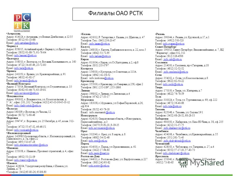 Филиалы ОАО РСТК Астрахань Адрес: 414024, г.Астрахань, ул.Боевая/Донбасская, д.12/35 Телефон: (8512) 63-10- 56 Email: info.astrahan@rstk.ru info.astrahan@rstk.ru Барнаул Адрес: 656015, Алтайский край, г.Барнаул, ул.Брестская, д.20 Телефон: (3852) 61-