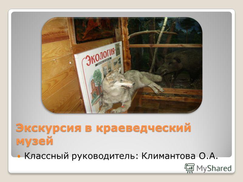 Экскурсия в краеведческий музей Классный руководитель: Климантова О.А.