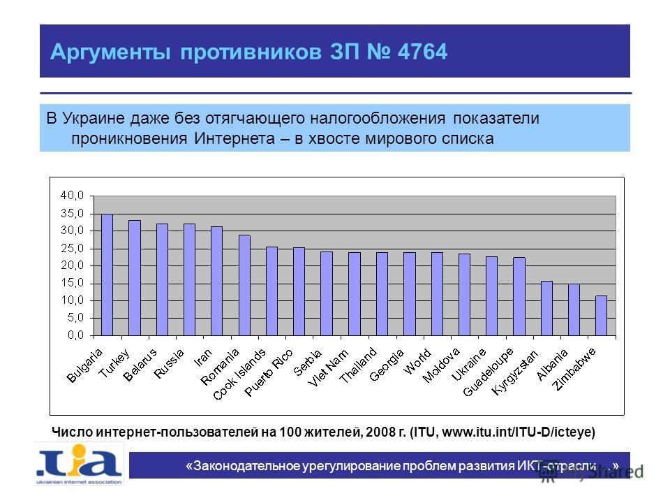 Аргументы противников ЗП 4764 В Украине даже без отягчающего налогообложения показатели проникновения Интернета – в хвосте мирового списка «Законодательное урегулирование проблем развития ИКТ-отрасли …» Число интернет-пользователей на 100 жителей, 20
