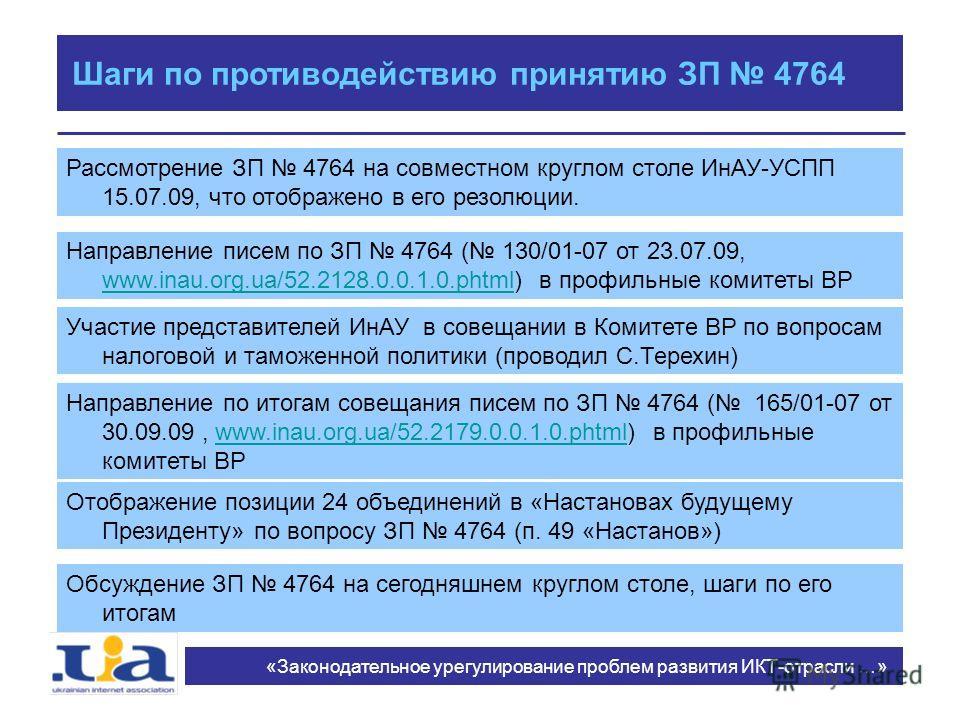 Шаги по противодействию принятию ЗП 4764 Рассмотрение ЗП 4764 на совместном круглом столе ИнАУ-УСПП 15.07.09, что отображено в его резолюции. «Законодательное урегулирование проблем развития ИКТ-отрасли …» Направление писем по ЗП 4764 ( 130/01-07 от