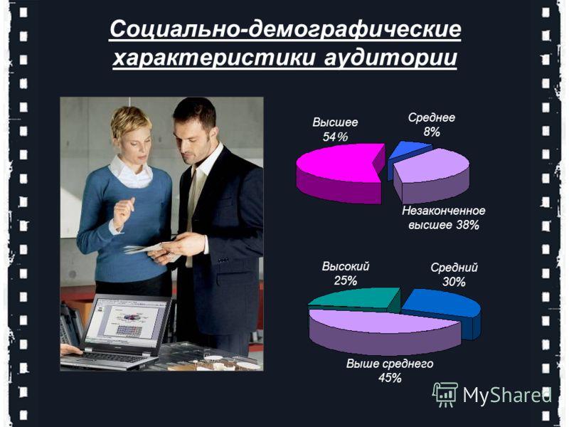 Среднее 8% Незаконченное высшее 38% Высшее 54 % Высокий 25% Выше среднего 45% Средний 30% Социально-демографические характеристики аудитории
