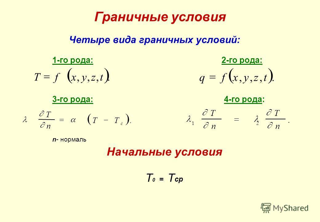 Граничные условия Четыре вида граничных условий: 1-го рода: 2-го рода: 3-го рода: 4-го рода: n- нормаль Начальные условия Т 0 = Т ср 1 2 T n T n. Tfxyzt,,,. qfxyzt,,,. T n TT c.