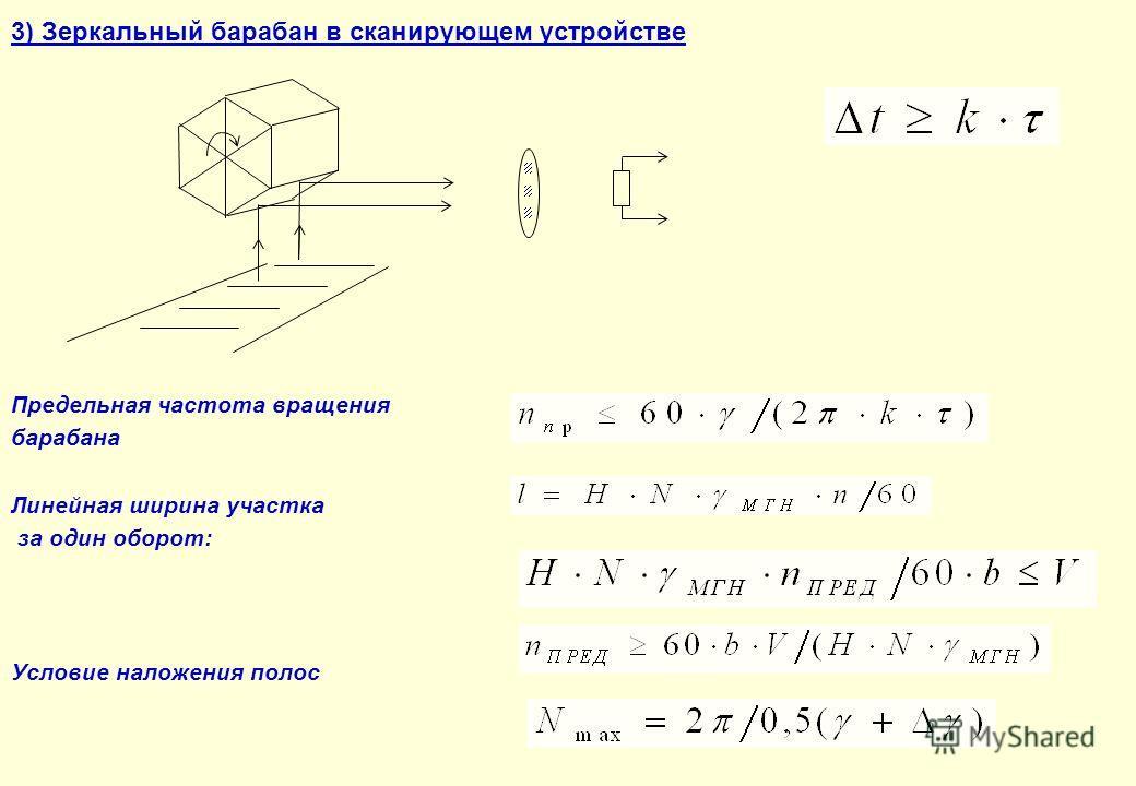 3) Зеркальный барабан в сканирующем устройстве Предельная частота вращения барабана Линейная ширина участка за один оборот: Условие наложения полос