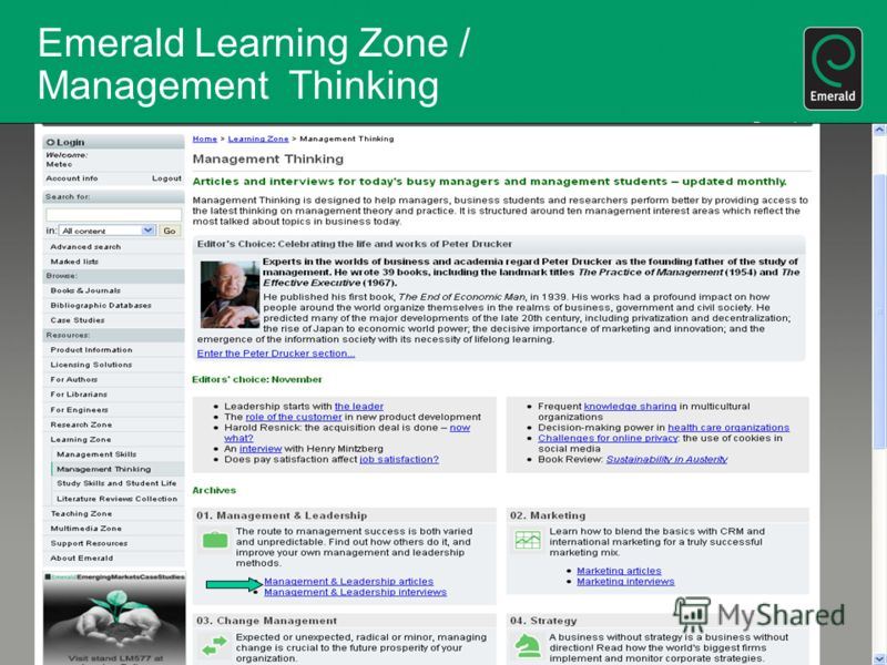 Emerald Learning Zone / Management Thinking