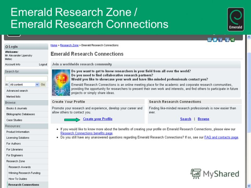Emerald Research Zone / Emerald Research Connections