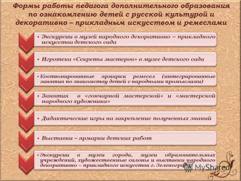 Формы работы педагога дополнительного образования по ознакомлению детей с русской культурой и декоративно – прикладным искусством и ремеслами