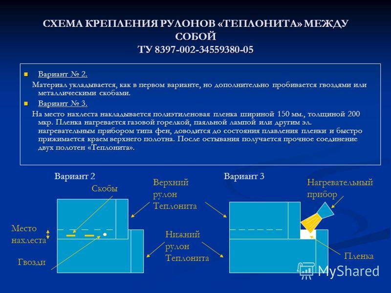 Место нахлеста СХЕМА КРЕПЛЕНИЯ РУЛОНОВ «ТЕПЛОНИТА» МЕЖДУ СОБОЙ ТУ 8397-002-34559380-05 Вариант 2. Вариант 2. Материал укладывается, как в первом варианте, но дополнительно пробивается гвоздями или металлическими скобами. Материал укладывается, как в