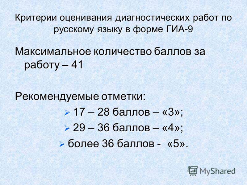 Критерии оценивания диагностических работ по русскому языку в форме ГИА-9 Максимальное количество баллов за работу – 41 Рекомендуемые отметки: 17 – 28 баллов – «3»; 17 – 28 баллов – «3»; 29 – 36 баллов – «4»; 29 – 36 баллов – «4»; более 36 баллов - «