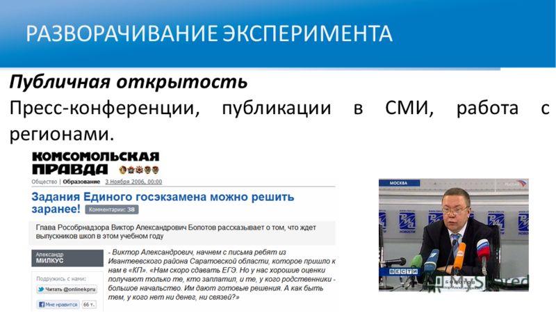 РАЗВОРАЧИВАНИЕ ЭКСПЕРИМЕНТА Публичная открытость Пресс-конференции, публикации в СМИ, работа с регионами.