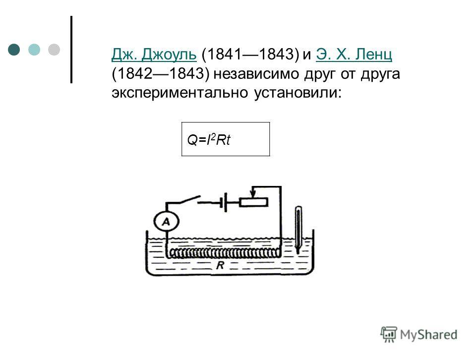 Дж. ДжоульДж. Джоуль (18411843) и Э. X. Ленц (18421843) независимо друг от друга экспериментально установили:Э. X. Ленц Q=I 2 Rt