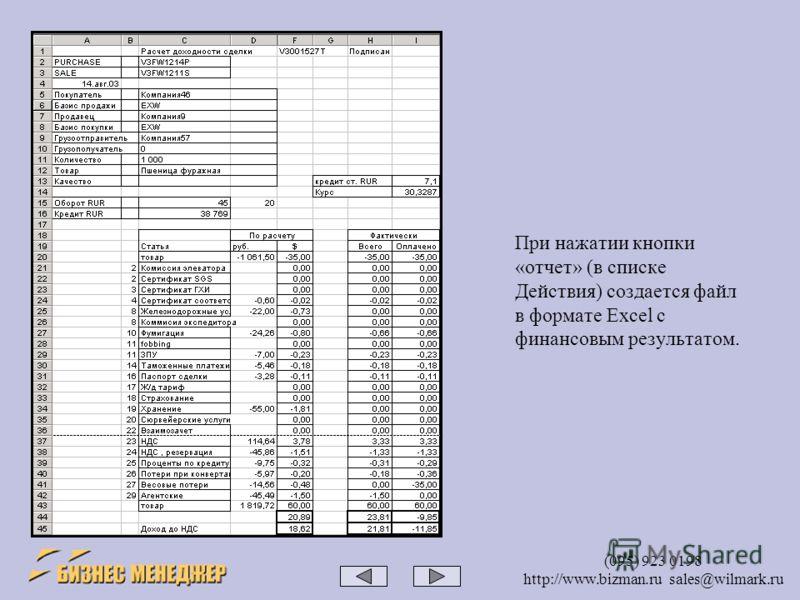 (095) 923 0198 http://www.bizman.ru sales@wilmark.ru При нажатии кнопки «отчет» (в списке Действия) создается файл в формате Excel с финансовым результатом.