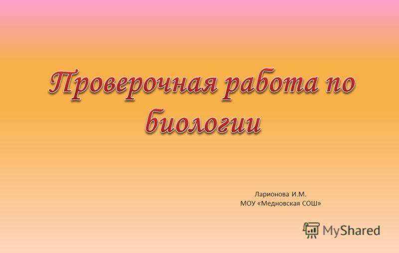 Ларионова И.М. МОУ «Медновская СОШ»
