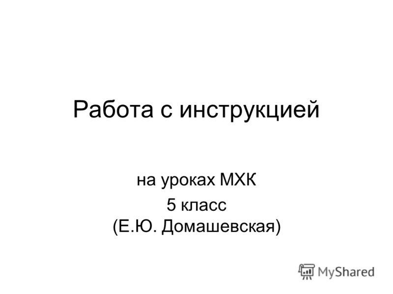 Работа с инструкцией на уроках МХК 5 класс (Е.Ю. Домашевская)
