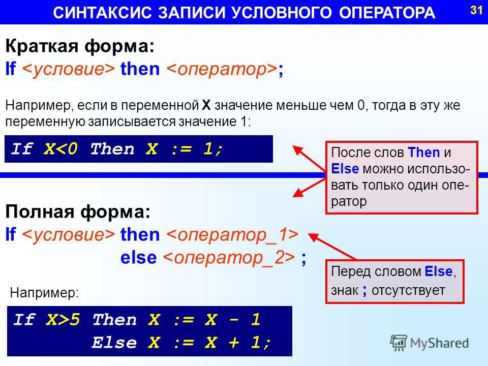СИНТАКСИС ЗАПИСИ УСЛОВНОГО ОПЕРАТОРА 31 Краткая форма: If then ; Полная форма: If then else ; If X5 Then X := X - 1 Else X := X + 1; Например: После слов Then и Else можно использо- вать только один опе- ратор Перед словом Else, знак ; отсутствует