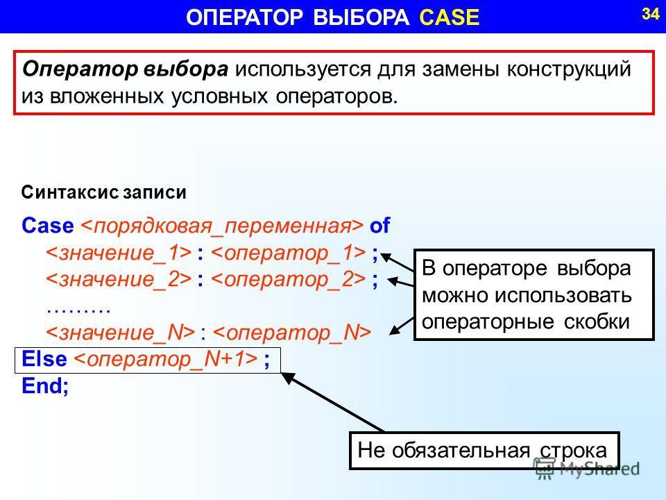 ОПЕРАТОР ВЫБОРА CASE 34 Оператор выбора используется для замены конструкций из вложенных условных операторов. Синтаксис записи Case of : ; ……… : Else ; End; Не обязательная строка В операторе выбора можно использовать операторные скобки