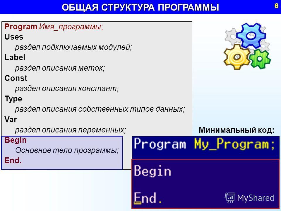 Program Имя_программы; Uses раздел подключаемых модулей; Label раздел описания меток; Const раздел описания констант; Type раздел описания собственных типов данных; Var раздел описания переменных; Begin Основное тело программы; End. ОБЩАЯ СТРУКТУРА П