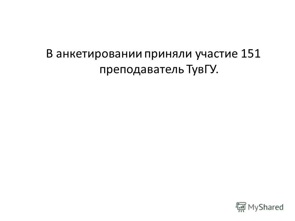 В анкетировании приняли участие 151 преподаватель ТувГУ.