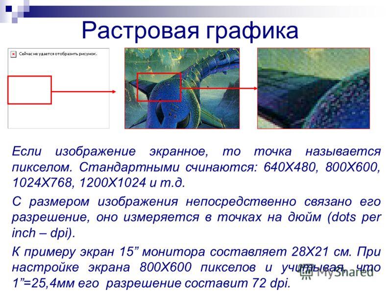 Растровая графика Если изображение экранное, то точка называется пикселом. Стандартными счинаются: 640Х480, 800Х600, 1024Х768, 1200Х1024 и т.д. С размером изображения непосредственно связано его разрешение, оно измеряется в точках на дюйм (dots per i