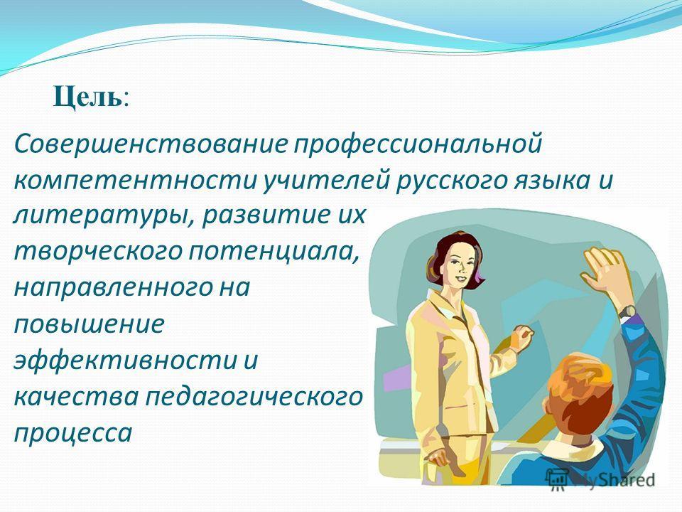 Совершенствование профессиональной компетентности учителей русского языка и Цель: литературы, развитие их творческого потенциала, направленного на повышение эффективности и качества педагогического процесса