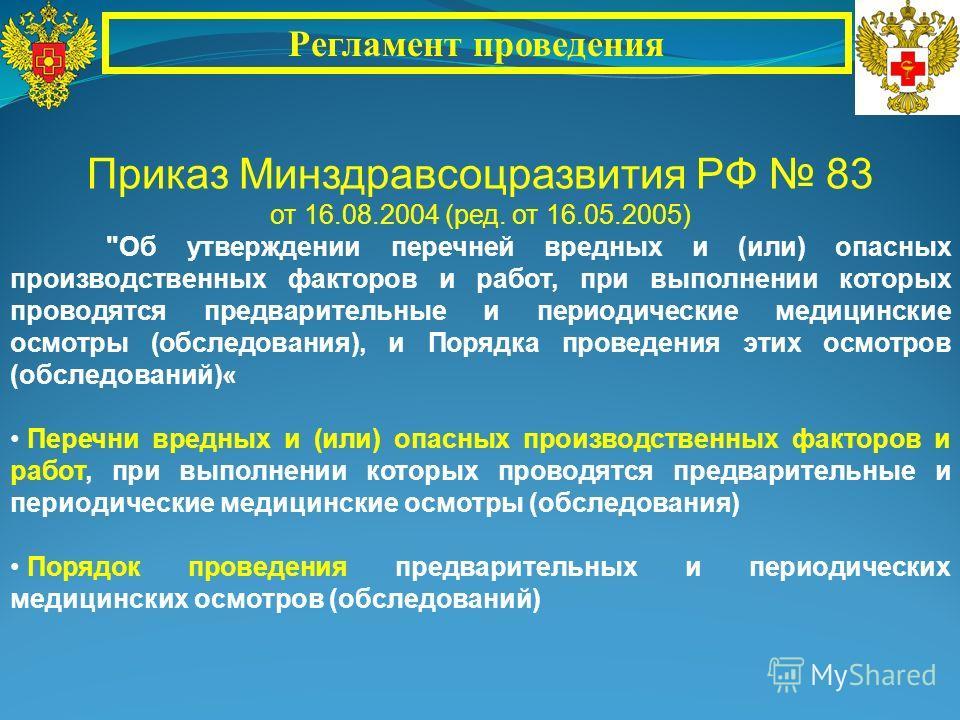 Приказ Минздравсоцразвития РФ 83 от 16.08.2004 (ред. от 16.05.2005)