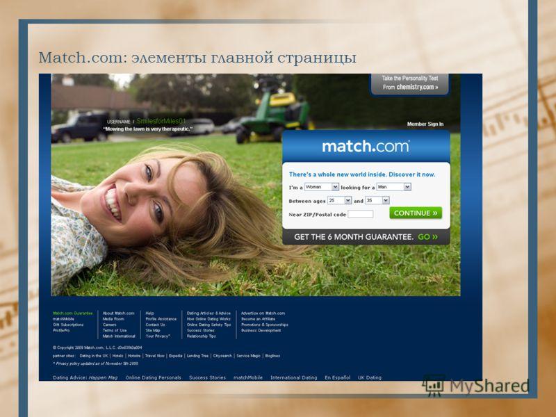 Match.com: элементы главной страницы