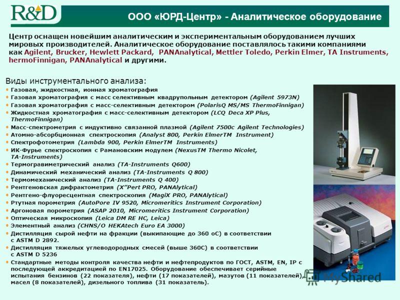 Виды инструментального анализа: Газовая, жидкостная, ионная хроматография Газовая хроматография с масс селективным квадрупольным детектором (Agilent 5973N) Газовая хроматография с масс-селективным детектором (PolarisQ MS/MS ThermoFinnigan) Жидкостная